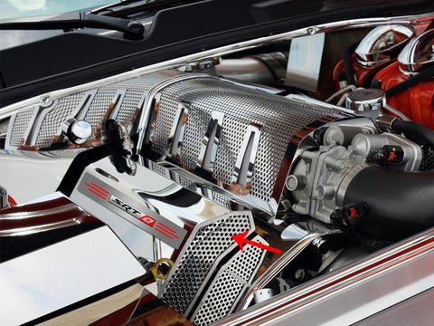 "Challenger/Charger/Magnum/300 SRT 8 Fuel Rail Covers Polished/Perforated ""SRT 8"" Illuminated 2008-2011 American Car Craft"