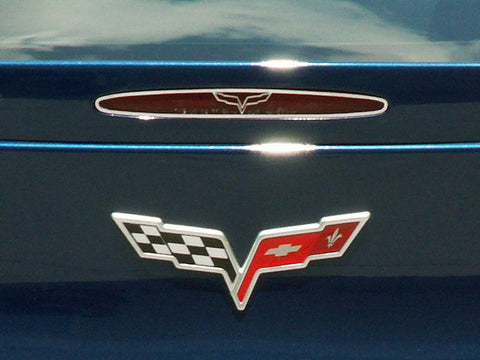 2005-2013 Corvette C6 - 5th Brake Light Trim Crossed Flags Style | Polished Stainless Steel
