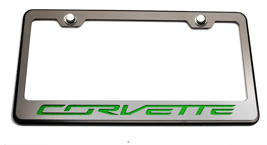 "Corvette C7 Stingray License Plate Frame Black and Brushed with ""Corvette"" Lettering American Car Craft"