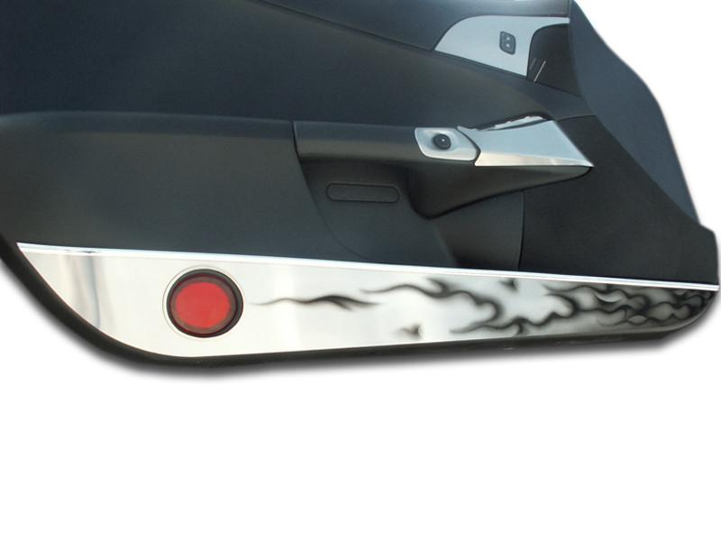 Corvette Door Guards Brushed with Black Flames 2Pc 2005-2013 C6 American Car Craft
