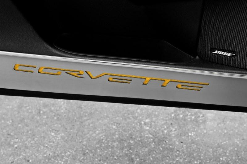"Corvette Door Guards Brushed with Carbon Fiber ""CORVETTE"" Inlay 2Pc 2005-2013 C6 American Car Craft"