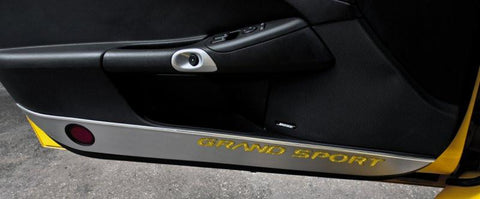 2010-2013 Corvette C6 - Door Guards with Grand Sport Inlay 2Pc | Brushed Stainless, Choose Color