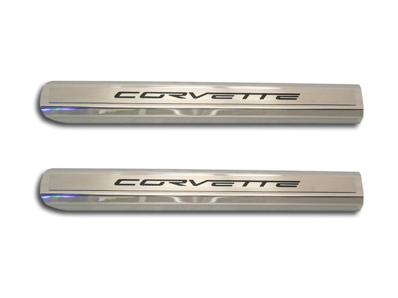 "Corvette Doorsills Executive Series Polished/Brushed Inner with ""Corvette"" colored Carbon Fiber Inlay 2005-2013 C6 American Car Craft"