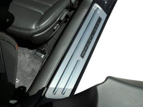 Corvette Doorsills Outer Brushed with Chrome Ribs 2Pc 2005-2007 C6