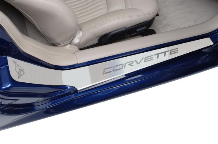 Corvette Doorsills Outer - Etched with C5 Corvette Brushed 1997-2004 C5 & Z06 American Car Craft