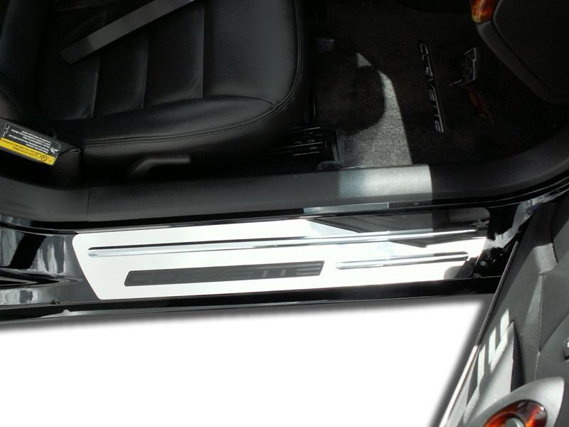 Corvette Doorsills Outer Polished with Chrome Ribs Stock 2Pc 2005-2007 C6+Z06 American Car Craft