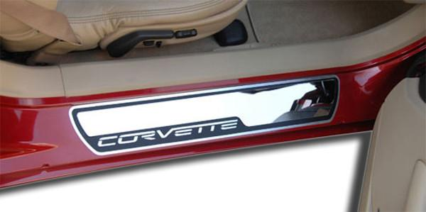 Corvette Doorsills Outer Stock Pad Inserts Polished 2Pc 2005-2007 C6 American Car Craft