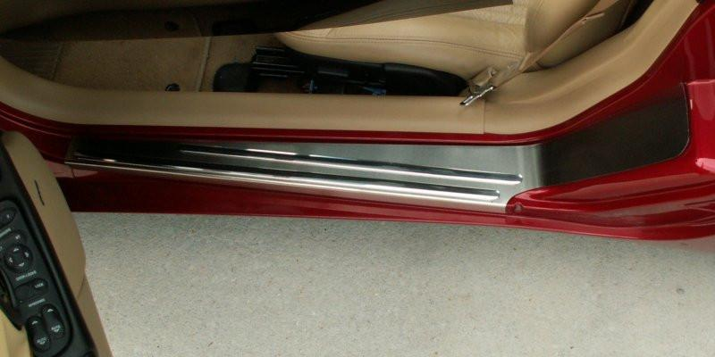 Corvette Doorsills Outer with Brushed Chrome Ribs 2Pc 1997-2004 C5 & Z06 American Car Craft