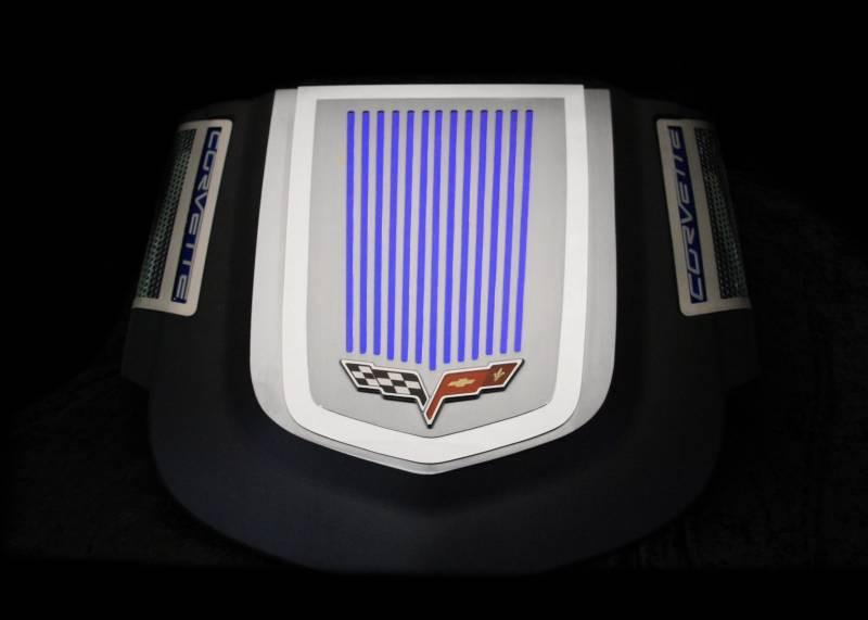 Corvette Engine Shroud Cover 2Pc Ribbed C6 Emblem 2009-2013 ZR1 only American Car Craft