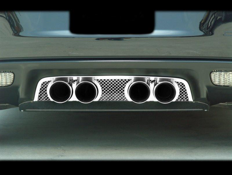 Corvette Exhaust Filler Panel Corsa 3.5 Quad Tips Laser Mesh Polished 2005-2013 C6 American Car Craft