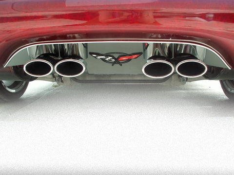 Corvette Exhaust Filler Panel for Stock Exhaust with C5 Flag Emblem Polished 1997-2004 C5 & Z06