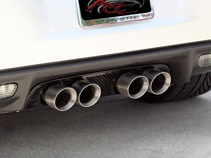 Corvette Exhaust Filler Panel - NPP+Dual-Mode+Bi-Mode Exhaust Laser Mesh Blakk Stealth 2005-2013 C6+GS American Car Craft