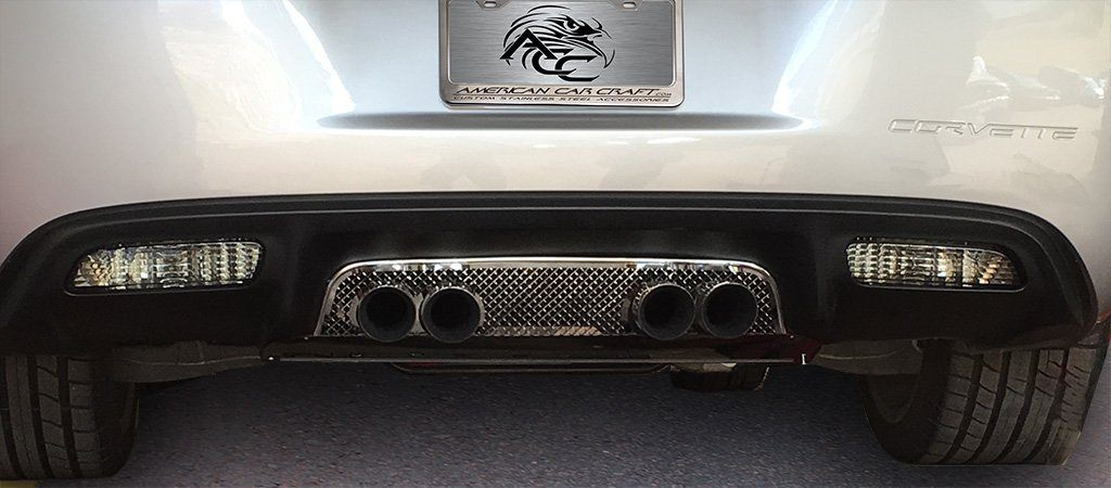 Corvette Exhaust Filler Panel - Stock Exhaust Laser Mesh Polished 2005-2013 C6 American Car Craft