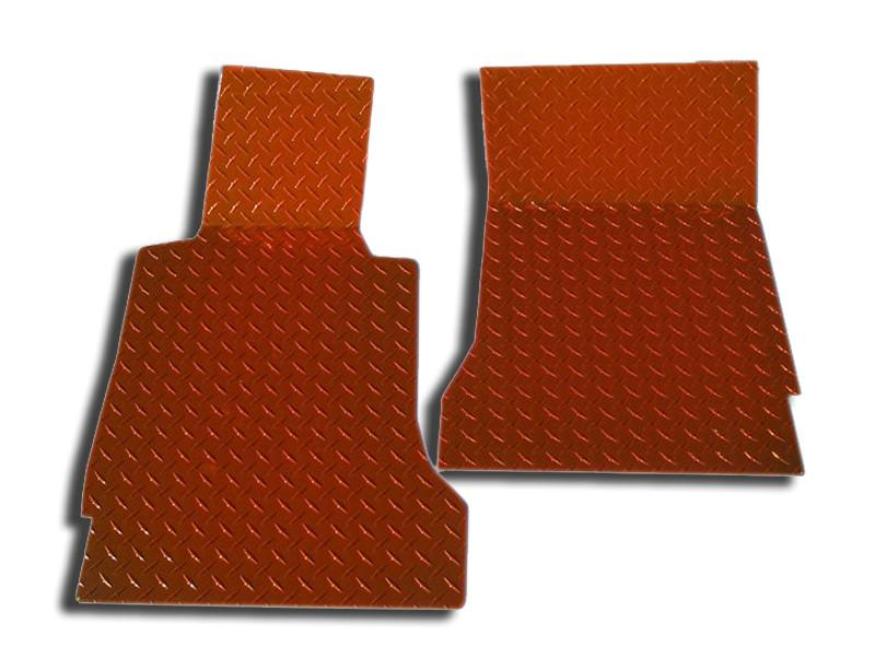 Corvette Floor Mats - Diamond Plate 2Pc Orange Show 2005-2013 C6 American Car Craft