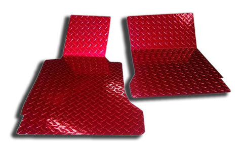 Corvette Floor Mats - Diamond Plate 2Pc Red Show 2005-2013 C6 American Car Craft