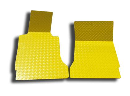 Corvette Floor Mats - Diamond Plate 2Pc Yellow Show 2005-2013 C6 American Car Craft