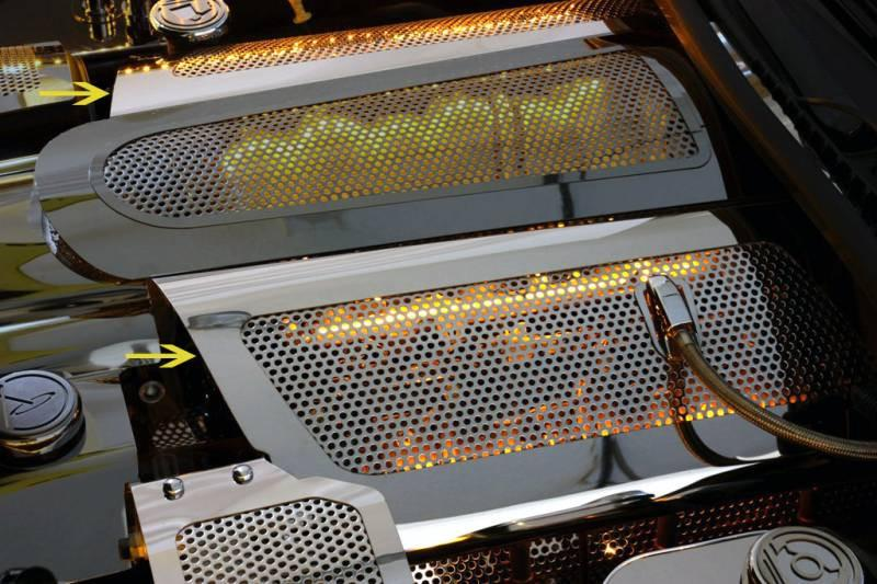 Corvette Fuel Rail Covers Replacement Style Perforated Illuminated 2005-2007 C6 American Car Craft