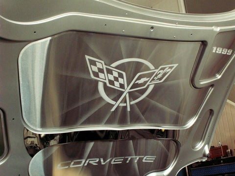 Corvette Hood Panel Inserts 5Pc Set Brushed Etched with Corvette logo 1997-2004 C5 & Z06 American Car Craft
