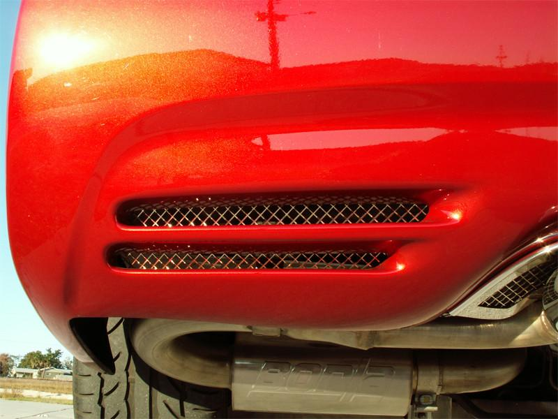 Corvette Rear Bumper Grilles 2Pc Laser Mesh Polished 1997-2004 C5 & Z06 American Car Craft