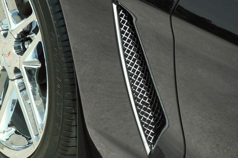 Corvette Side Vent Grilles Laser Mesh 2Pc Polished 2005-2013 C6 only American Car Craft