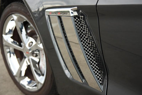 2010-2013 Grand Sport Corvette -Laser Mesh Side Vent Grilles 2Pc | Polished Stainless