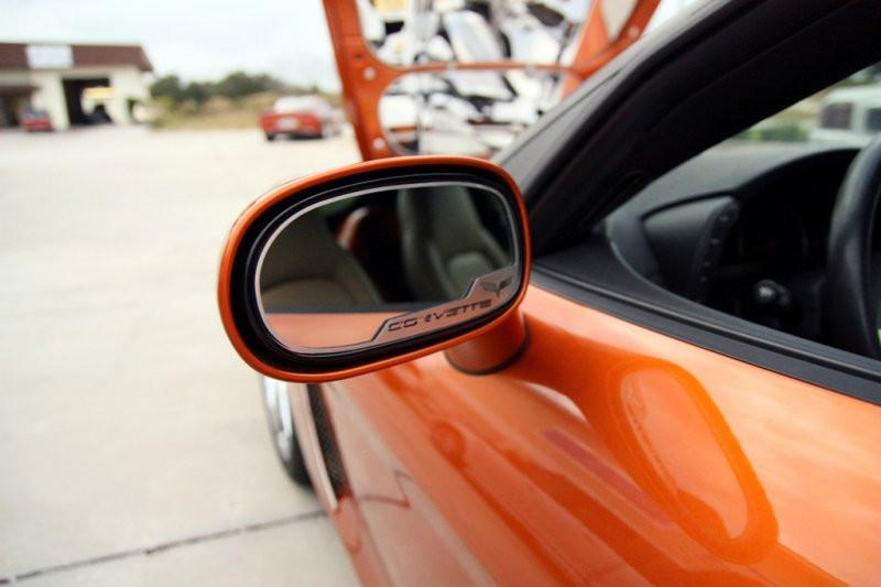 Corvette Side View Mirror Trim 2Pc - Crossed Flags 2005-2013 C6 Standard Mirror American Car Craft