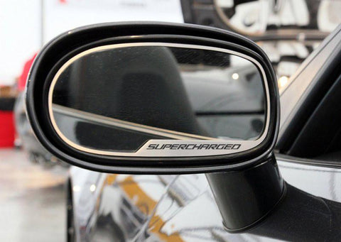 2005-13 C6 Corvette - Side View Mirror Trim SUPERCHARGED Style 2Pc [Auto-Dim] | Brushed