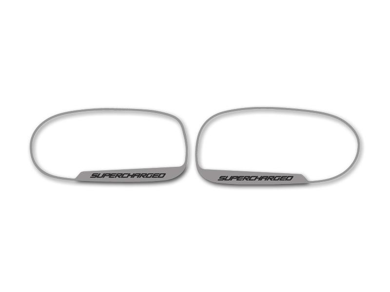"Corvette Side View Mirror Trim 2Pc ""Supercharged"" Script 2005-2013 C6 Standard Mirror American Car Craft"