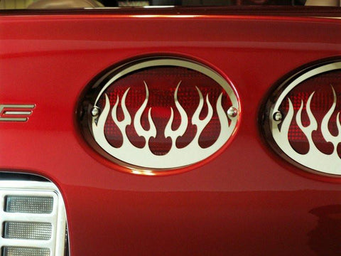 Corvette Taillight Grilles 4Pc Flame Style Polished 1997-2004 C5 & Z06 American Car Craft
