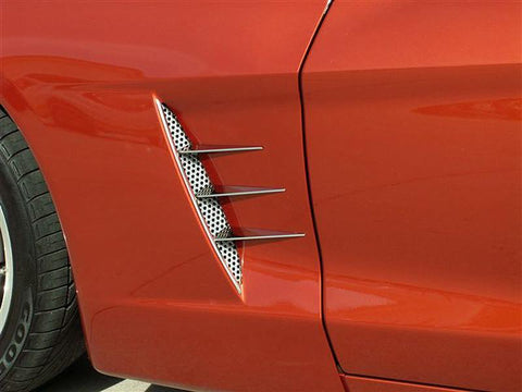 Corvette Vent Spears w/Perforated Vents 8Pc Polished 2005-2013 C6 only American Car Craft