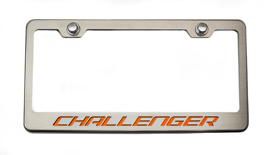 "Custom License Plate Frame with ""Challenger"" Lettering American Car Craft"