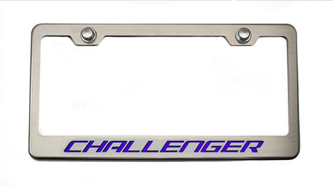 "Custom License Plate Frame with ""Challenger"" Lettering"
