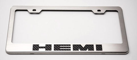 "Custom License Plate Frame with ""HEMI"" Lettering American Car Craft"