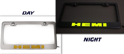 "Custom License Plate Frame with ""HEMI"" Lettering"