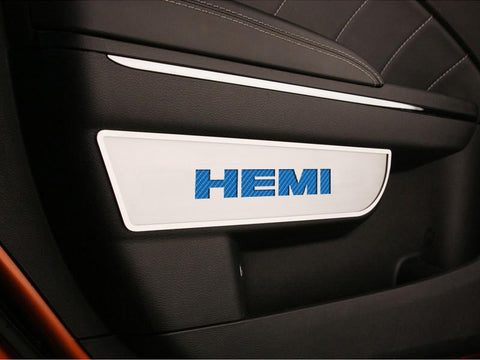 Dodge Charger / Chrysler 300 Door Badges with HEMI Carbon Fiber inaly 2Pc Front Brushed 2011-2013
