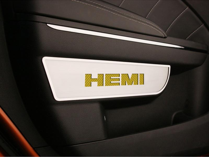 Dodge Charger / Chrysler 300 Door Badges with HEMI Carbon Fiber inaly 2Pc Front Brushed 2011-2013 American Car Craft