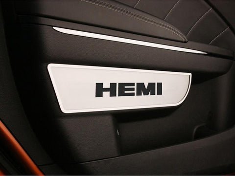Dodge Charger / Chrysler 300 - Door Badges with HEMI cut-out 2Pc Front Brushed 2011-2013