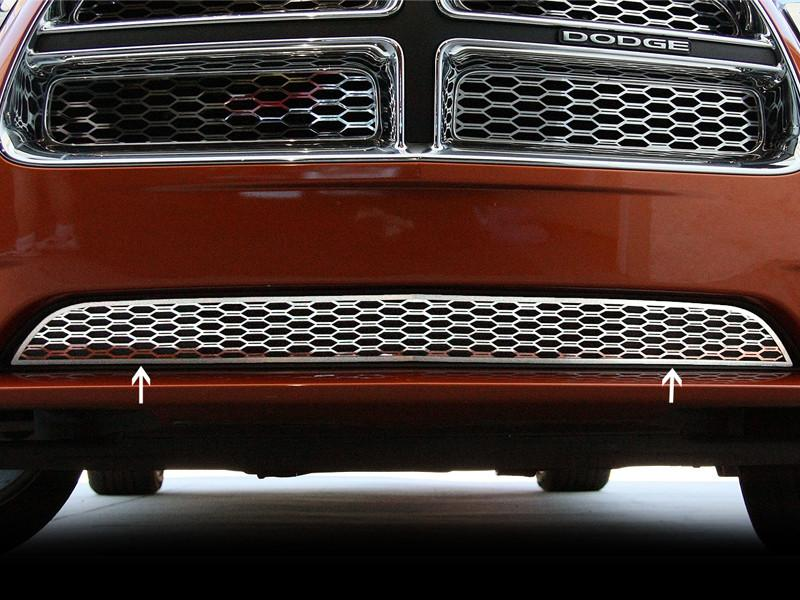 Dodge Charger Lower Polished Stainless 1Pc Front Grillle Overlays 2011-2013 American Car Craft