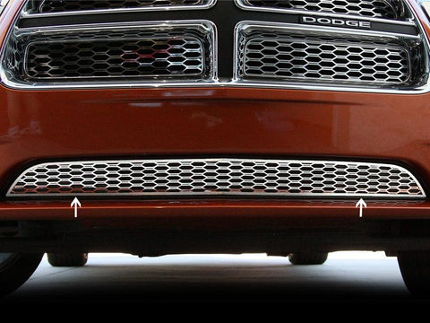 Dodge Charger Lower Polished Stainless 1Pc Front Grillle Overlays 2011-2013