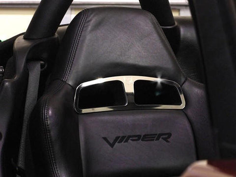 Dodge Viper Sport Seat Trim Plates with Viper Head Logo 2Pc Polished 2003-2010