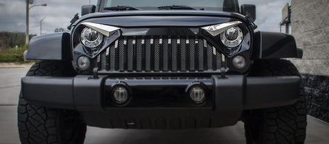 2007-2018 Jeep Wrangler JK w/Gladiator Grille - Eyebrow Kit, Optional LEDs | Polished Stainless Steel