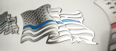 Flowing American Flag Emblem | (1) or (2) Piece Set American Car Craft