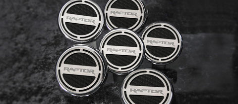 Ford Raptor - Fluid Cap Cover 6Pc Set Raptor logo Carbon Fiber Colored Inlay
