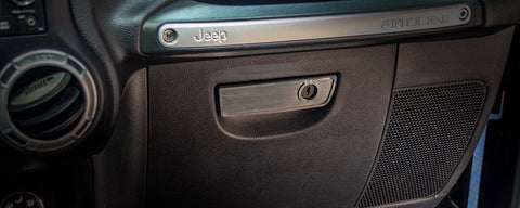 2007-18 Jeep Wrangler JK/JKU - Glove Box Handle Trim | Brushed Stainless Steel
