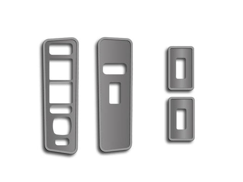 Hummer H2 Door Arm Control Plates Brushed w/Polished Rings 4Pc 2003-2007 American Car Craft