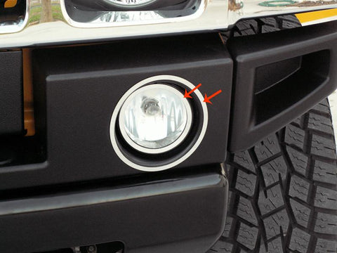 Hummer H2 Driving Light Trim Rings Polished 4Pc 2003-2013