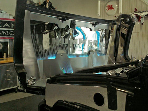 Hummer H2 Hood Panel 7Pc Polished/Brushed Flame Etched Illuminated 2003-2007 American Car Craft