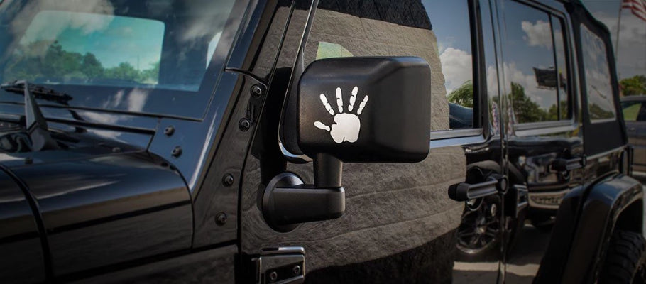 Jeep Wrangler Emblems Wave Hands 2pc American Car Craft