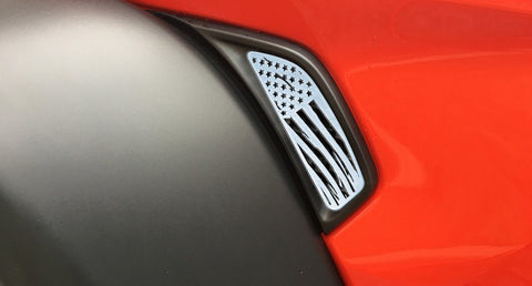 2018-2020 Jeep Wrangler JL/JLU - Side Vent Accents Battle Worn American Flag 2Pc | Stainless, Choose Finish