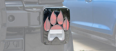 2007-18 Jeep Wrangler JK & JKU -Paw Print Tail Light Covers | Stainless Steel, Choose Finish